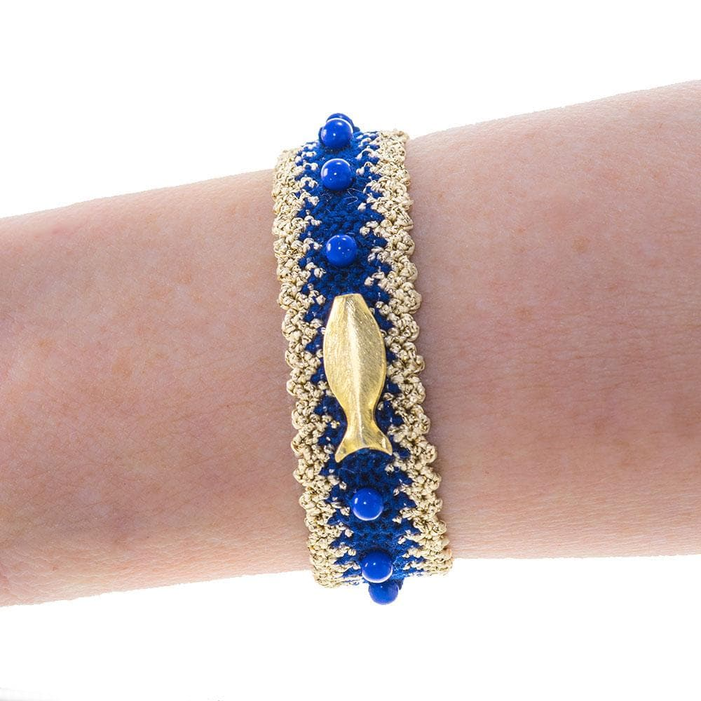 Handmade Macrame Royal Blue Gold Fish Bracelet - Anthos Crafts