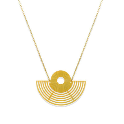 Handmade Gold Plated Silver Geometric Amphitheater Short Necklace - Anthos Crafts