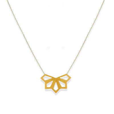 Handmade Gold Plated Silver Geometric Flower Short Necklace - Anthos Crafts