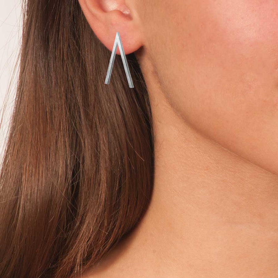 Silver Plated Bronze Geometric Stud Earrings - Anthos Crafts