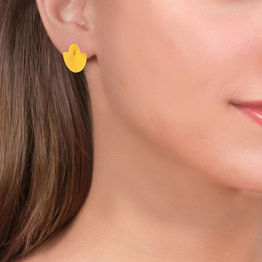 Handmade Gold Plated Silver Geometric Amphitheater Stud Earrings - Anthos Crafts