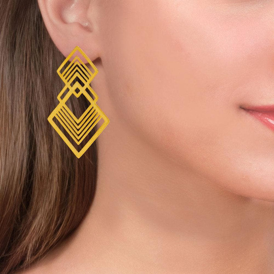 Handmade Gold Plated Silver Geometric Double Fractal Drop Earrings - Anthos Crafts