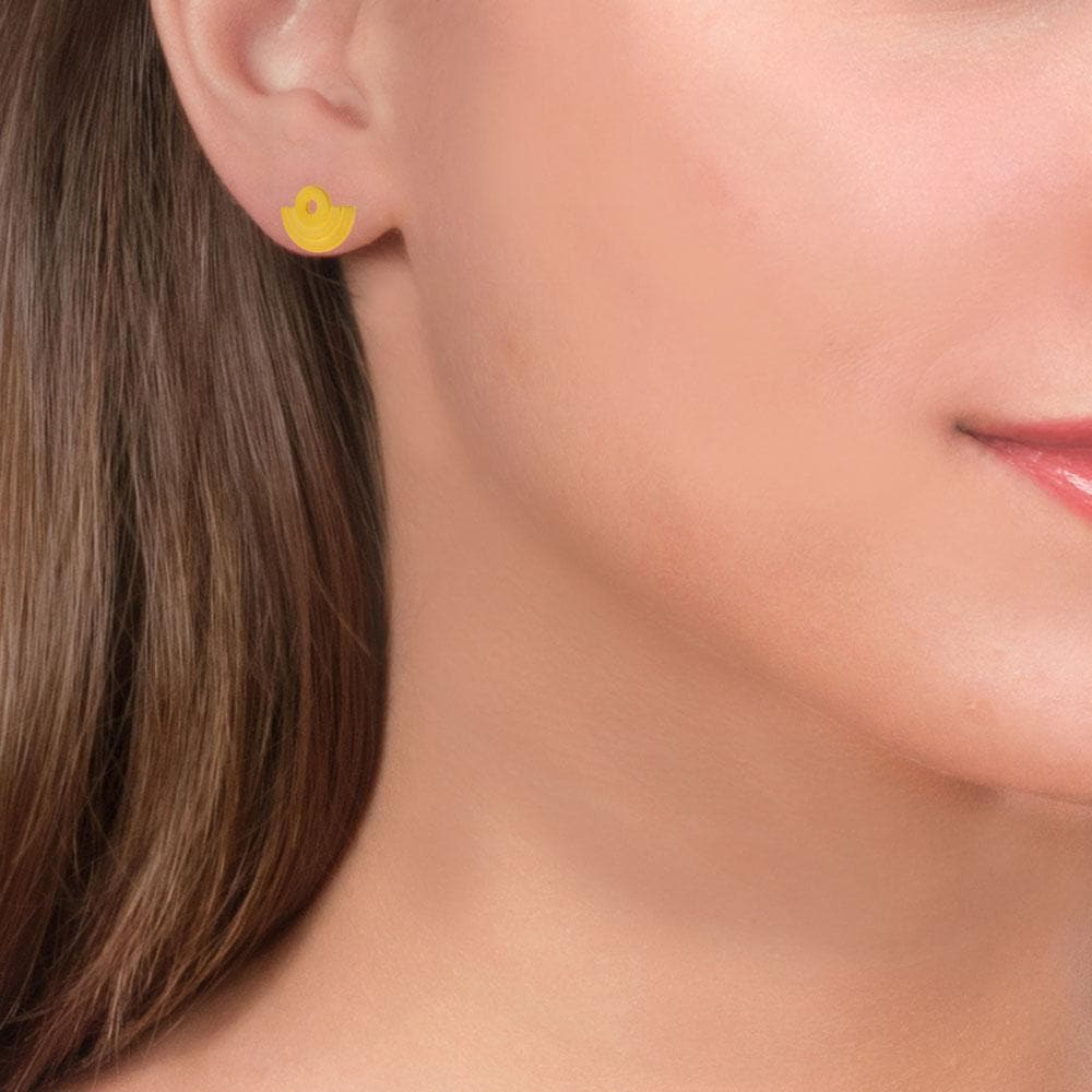 Handmade Gold Plated Silver Geometric Xsmall Amphitheater Stud Earrings - Anthos Crafts