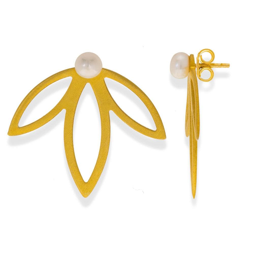 Handmade Gold Plated Silver Spring Flower Earrings With Three Leaves & Pearls Stud Earrings - Anthos Crafts