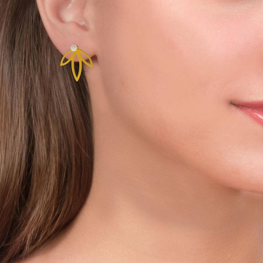 Handmade Gold Plated Silver Spring Flower Earrings With Three Leaves & Pearls Stud Earrings