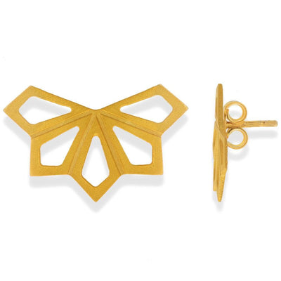 Handmade Gold Plated Silver Geometric Small Stud Earrings - Anthos Crafts