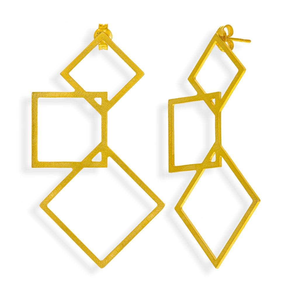 Handmade Gold Plated Silver Geometric Three Cubes Drop Earrings - Anthos Crafts