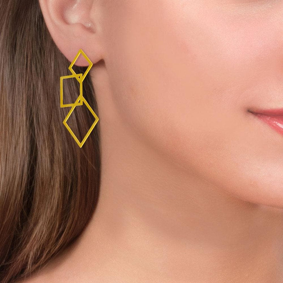 Handmade Gold Plated Silver Geometric Three Cubes Drop Earrings