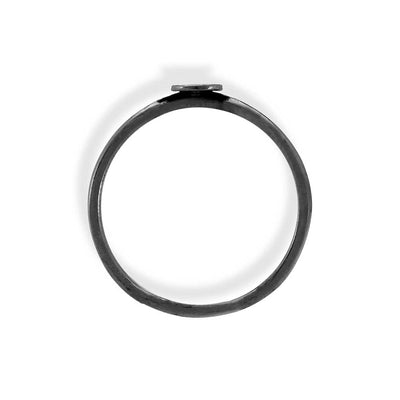 Handmade Black Plated Silver Thin Ring With Medium Disk - Anthos Crafts
