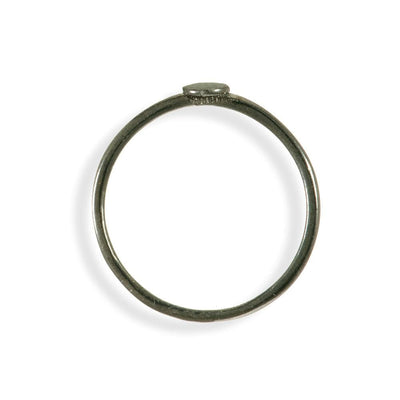 Handmade Black Plated Silver Thin Ring With a Small Disk - Anthos Crafts