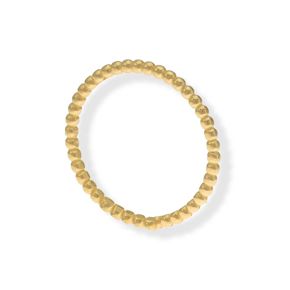 Handmade Gold Plated Silver Thin Ring With Tiny Balls - Anthos Crafts