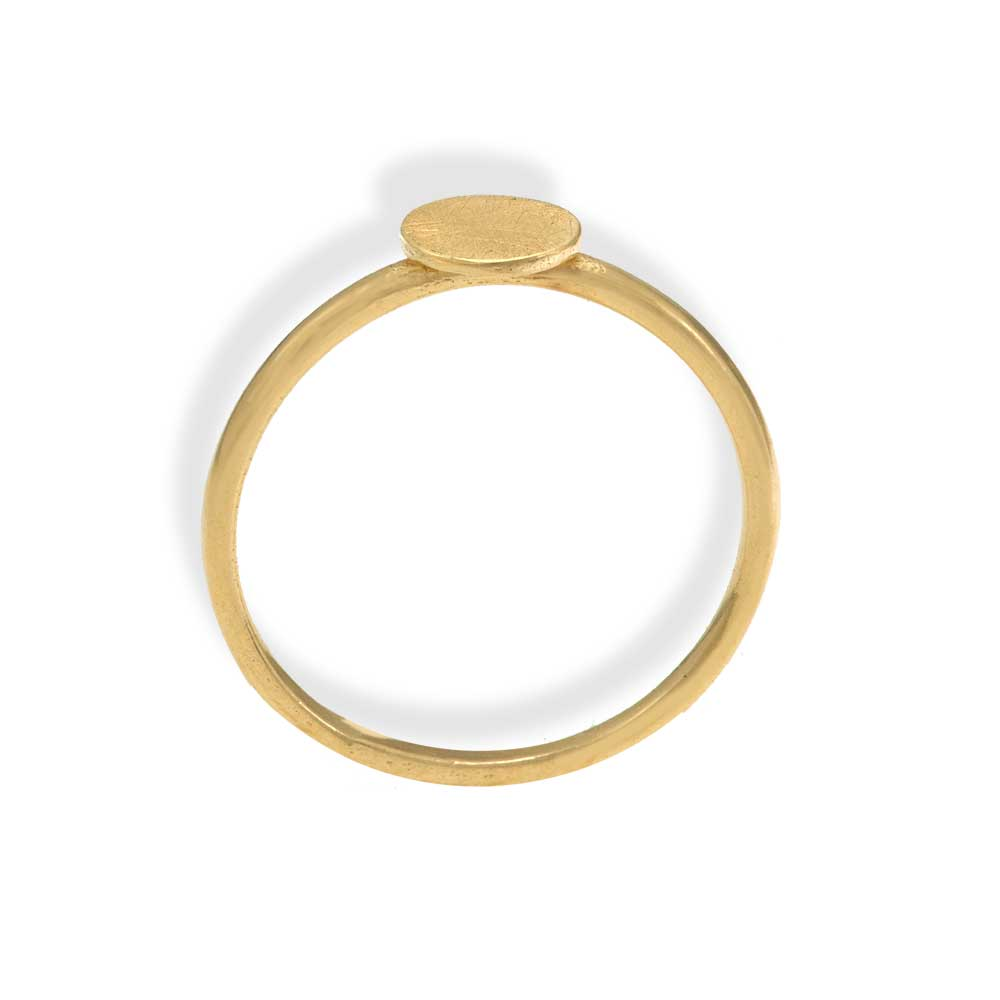 Handmade Gold Plated Silver Thin Ring With Large Disk - Anthos Crafts