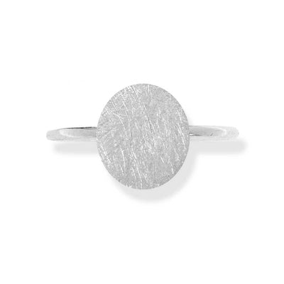 Handmade Silver Thin Ring With Large Disk - Anthos Crafts