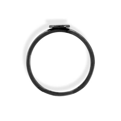 Handmade Black Plated Silver Thin Ring With Large Disk - Anthos Crafts