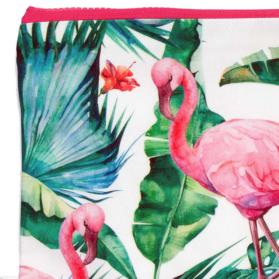 Summer Beach Clutch Floral Flamingos