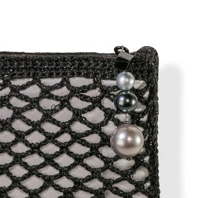 Handmade Black Silver Shimmering Knitted Crochet Bag - Anthos Crafts