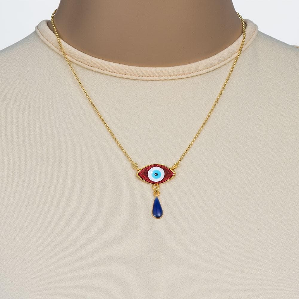 Handmade Short Necklace With Gold Plated Silver Orange Turquoise Enamel Evil Eye with Gemstones - Anthos Crafts