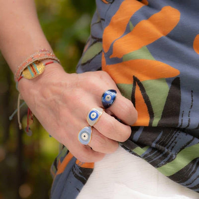 Handmade Gold Plated Silver Ring With A Gray Blue Enamel Evil Eye - Anthos Crafts