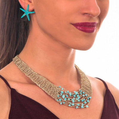 Handmade Gold Plated Choker Necklace with Turquoise Stones - Anthos Crafts