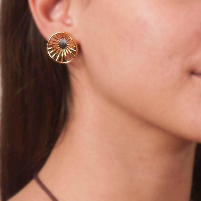 Handmade Gold  Plated Silver Flower Earrings - Anthos Crafts