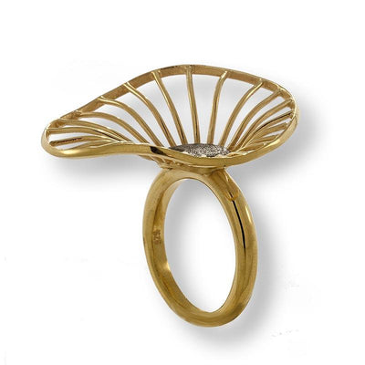 Handmade Gold Plated Silver Flower Ring - Anthos Crafts