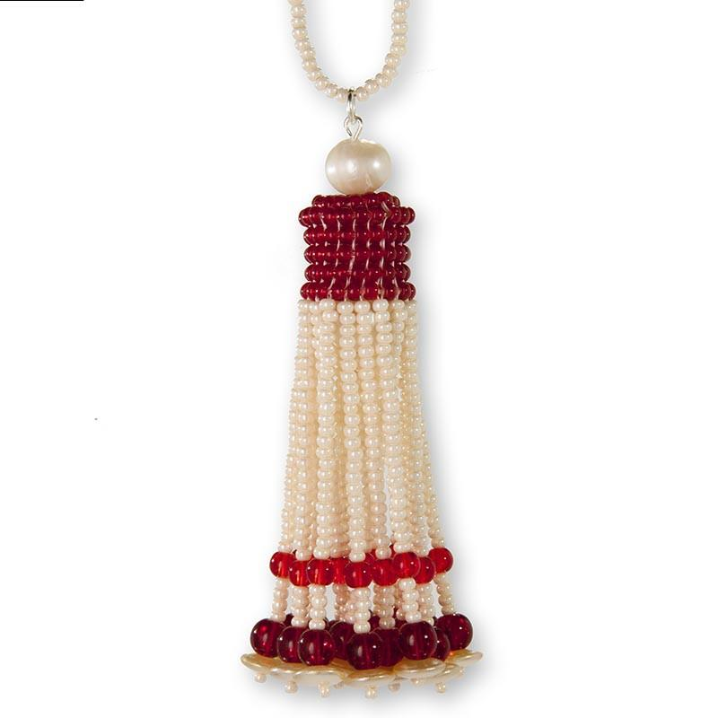 Handmade Pearl-Ecru Red Shimmering Beaded Tassel Necklace - Anthos Crafts