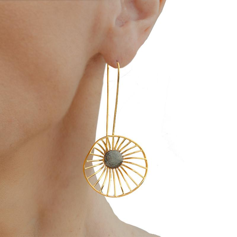 Handmade Gold  Plated Silver Flower Long Earrings - Anthos Crafts
