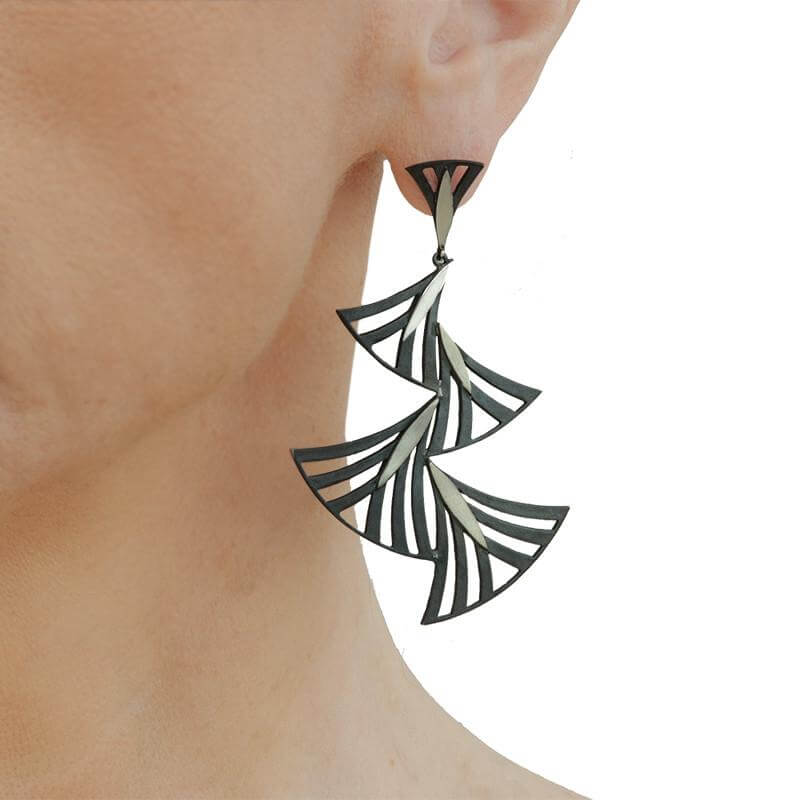 Handmade Black Plated Silver Long Earrings