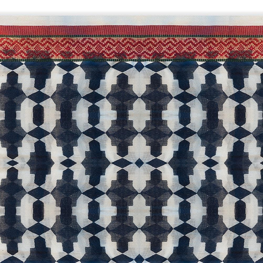 Pareo Dark Blue with Edges in Print Geometric Pattern Kashish - Anthos Crafts
