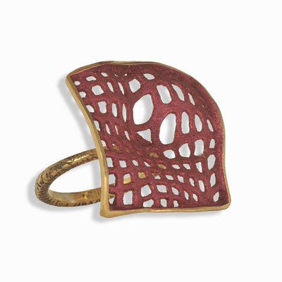 Handmade Gold Plated Silver Blush Ring - Anthos Crafts
