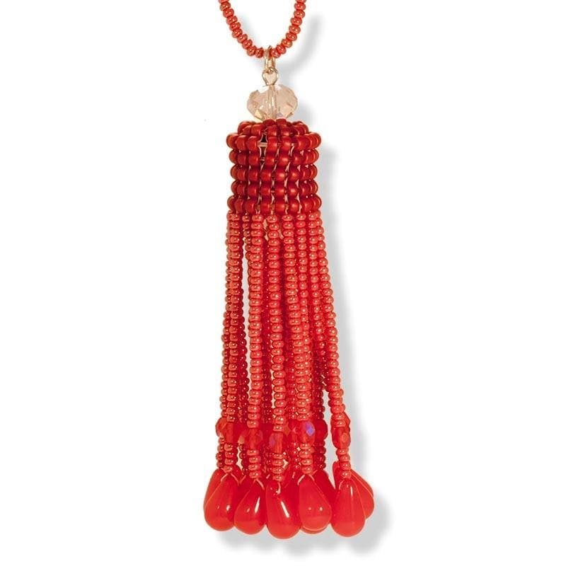 Handmade Coral Shimmering Beaded Tassel Necklace - Anthos Crafts