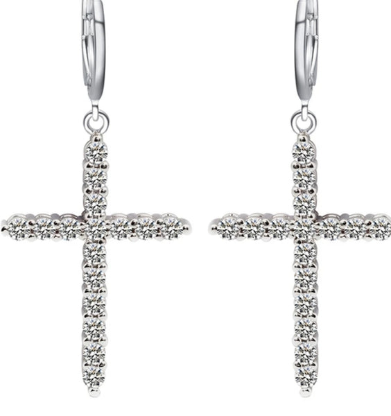 Silver Crystal Cross Earrings