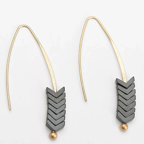 Boho Natural stone Geometrical Arrow Earrings
