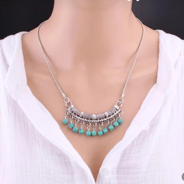 Bohemian Tibetan Green Beaded Plack Pendant Necklace