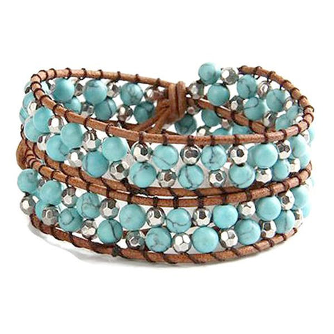 Beaded Bracelets Festival Turquoise & Silver Double Wrap Leather Bracelet Wear With Love