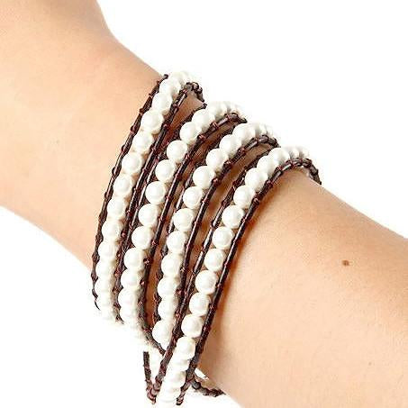 Beaded Bracelets Glass Pearl Four Strand Wrap Bracelet Wear With Love