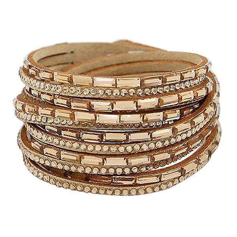 Beaded Bracelets Gold Crystal Slake Wrap Bracelet Wear With Love