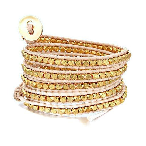 Beaded Bracelets Gold Metallic Strand Wrap Bracelet Wear With Love