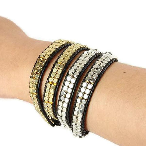 Beaded Bracelets Metallic Cube Four Strand Wrap Bracelet Wear With Love