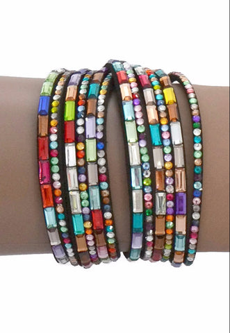 Beaded Bracelets Multi Coloured Crystal Slake Wrap Bracelet Wear With Love