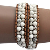 Beaded Bracelets Natural Stone Waxed Leather Double Wrap Bracelet Wear With Love