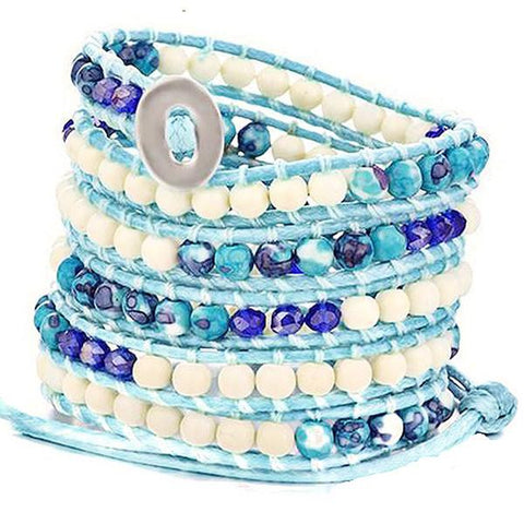 Beaded Bracelets Ocean Blue Strand Wrap Bracelet Wear With Love