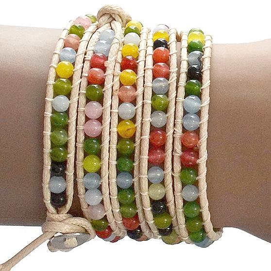 Beaded Bracelets Opal Stone Rainbow Wrap Strand Bracelet Wear With Love