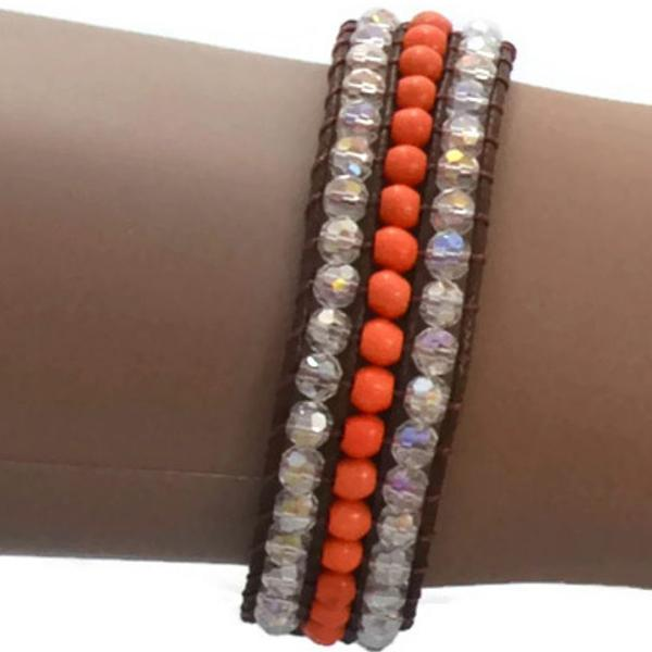 Beaded Bracelets Orange Crystal Bracelet Wear With Love