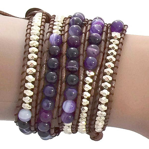 Beaded Bracelets Purple Agate Stone Four Strand Wrap Bracelet Wear With Love