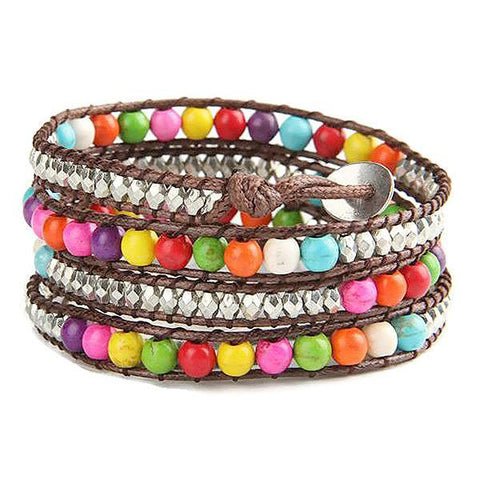 Beaded Bracelets Rainbow Stone Four Strand Wrap Bracelet Wear With Love