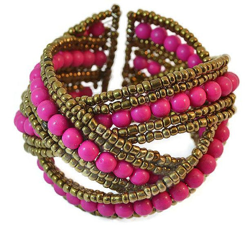 Beaded Bracelets Shocking Pink Cross Over Cuff Bracelet Wear With Love