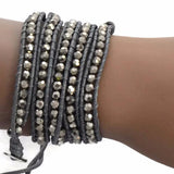 Beaded Bracelets Silver Crystal Stone Wrap Strand Bracelet Wear With Love