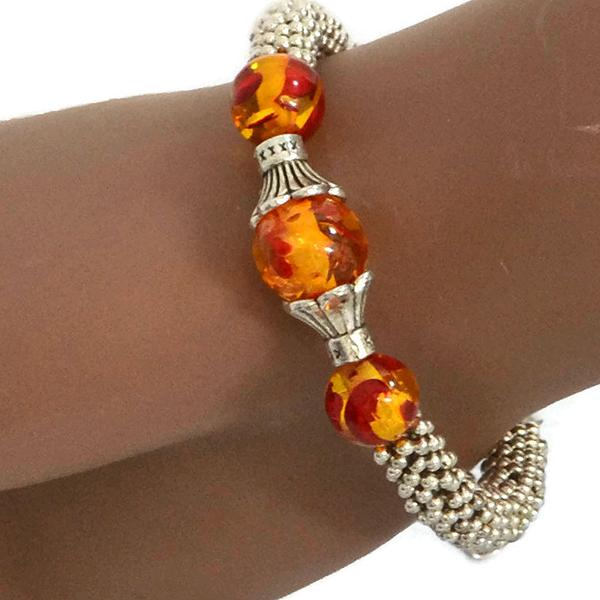 Beaded Bracelets Tibetan Silver Amber Stone Bracelet Wear With Love