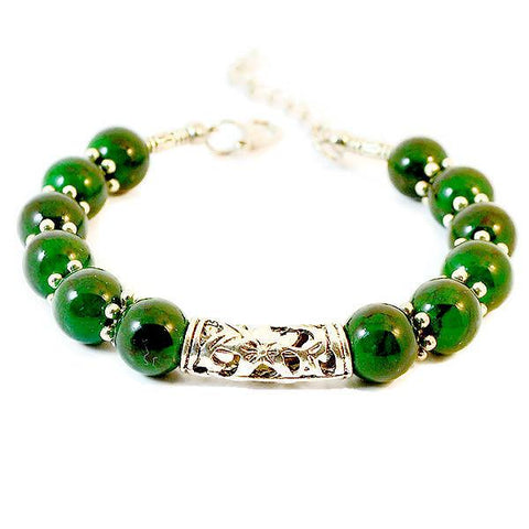 Beaded Bracelets Tibetan Silver Green Jade Stone Bracelet Wear With Love